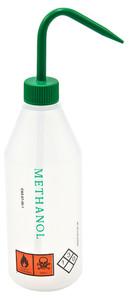 "Wash Bottles, 500mL, Labeled ""Methanol"", Green Cap, pack/5"
