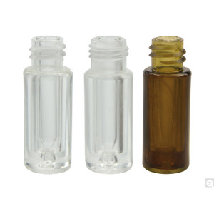 12 x 32mm 100ul Amber Plastic Vial with Glass Insert with 8-425 neck finish, vial only, case/100