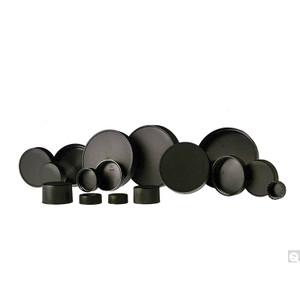 33-400 Black Ribbed Polypropylene Unlined Cap, Each