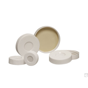 28-400 White Polypropylene Hole Cap with Bonded PTFE/Silicone Septa, Each