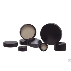 38-439 Black Ribbed Phenolic Cap with F217 & PTFE Liner, Each