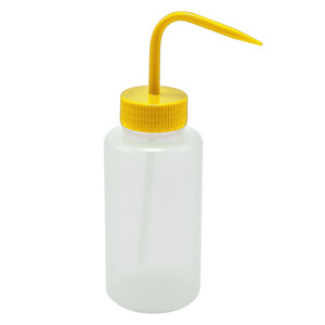 Wash Bottles, 500mL, LDPE, Yellow Lid, pack/5