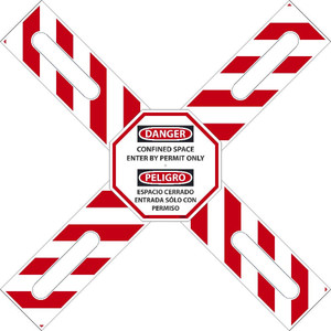 "Bilingual CONFINED SPACE / PERMIT ONLY Cross-Buck Kit Sign, Adjustable 22""-38"""