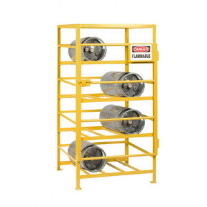 Gas Cylinder Storage Rack, 8 or 12 LP Cylinders, Yellow