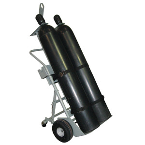 """Double Cylinder Hand Truck with Hoist Ring, 10.5"""" Pneumatic Wheels, Rear Casters and Tool Tray"""