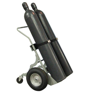 "Double Cylinder Hand Truck, 16"" Pneumatic Wheels, Rear Casters"