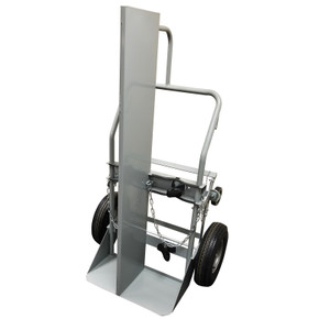 "Double Cylinder Hand Truck with Firewall, 10.5"" Pneumatic Wheels"