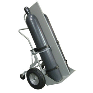 "Double Cylinder Hand Truck with Firewall, 16"" Pneumatic Wheels, Rear Casters"