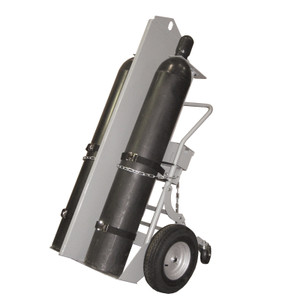 Double Cylinder Hand Truck with Firewall & Hoist Ring, 16 In Pneumatic Wheels, Rear Casters & Tool Box
