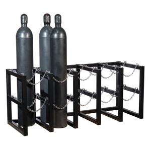 Gas Cylinder Barricade Rack, 10 Cylinder Capacity, 5 Wide / 2 Deep