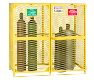"Gas Cylinder Storage Cage with 'Full' & 'Empty' Sides, 10-30 Cylinders, 72"" x 38"" x 70"""
