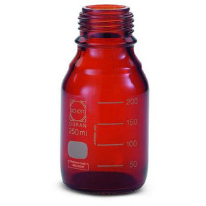 DURAN® PRESSURE PLUS Bottle Only, Amber, 250mL, GL45, case/10