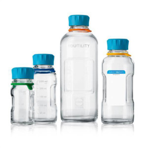 DURAN® YOUTILITY Bottle, Clear, Graduated, GL45, Screw Cap, 125mL, case/4
