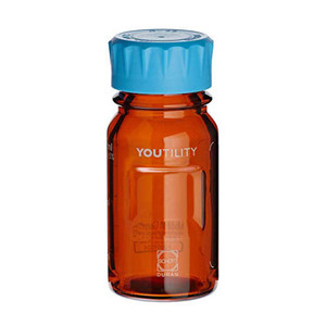 DURAN® YOUTILITY Bottle, Amber, GL45, Screw Cap, 125mL, case/4