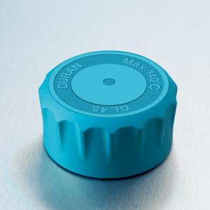 DURAN® YOUTILITY GL45 Replacement Screw Caps, Cyan PP, Ergonomic, pack/10