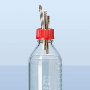 DURAN® 3-Port Cap, GL45 Red PBT Screw Cap, Stainless Steel Ports, Sterile