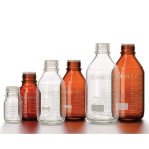DURAN® PURE Bottle Only, Amber Borosilicate Glass, GL45, 100mL, case/10