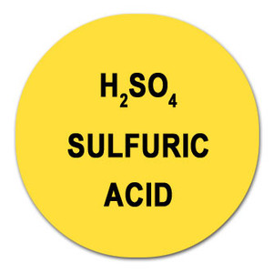 Round Color-Coded Chemical Labels, Sulfuric Acid Yellow, H2SO4, Roll/1000