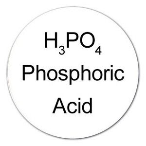 Round Color-Coded Chemical Labels, Phosphoric acid, White, H3PO4, Roll/1000
