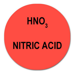 Round Color-Coded Chemical Labels, Nitric Acid, Red, HNO3, Roll/1000