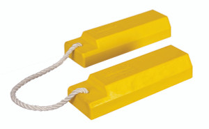 "Aviation Wheel Chocks, 12"" Yellow with 24"" Nylon Rope, Rubber Pad, Pair"