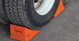 "Pickup Truck In-Between Wheel Chocks, 3.5 Lb Urethane, 11.25"" x 8"" x 8.25"" Orange with 48"" Rope, Pair"
