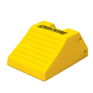 "Heavy Duty Lightweight Wheel Chock, 21.9"" x 14.9"" x 10.6"" Yellow, Single Unit"