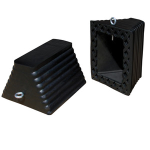 "Large Commercial Wheel Chock, Rubber, 11.5"" x 10"" x 7.25"" I-Bolt Black, Single Unit"