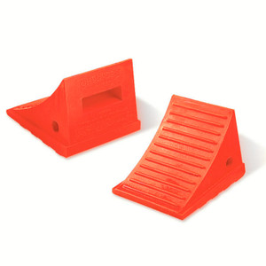 "Pickup Truck Wheel Chock, 2 Lb Urethane, 8.5"" x 7.5"" x 6.25"" Orange, Single Unit"