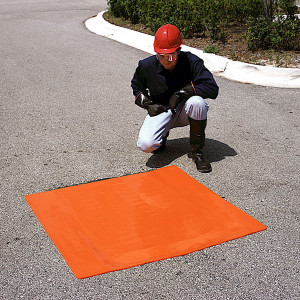 """Drain Seal, Water-Tight Flexible Cover, 42"""" x 42"""", 2-Hour Rated, Orange"""