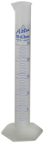 Graduated Cylinder, Printed Graduations, PP, 25mL, case/20