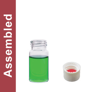 WHEATON® MicroLiter 20mL Clear Vial Kit, White PP Open Top Cap, Bonded PTFE/Silicone Septa, pack/100