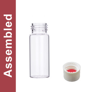 WHEATON® MicroLiter 30mL Clear Vial Kit, White PP Open Top Cap, Bonded PTFE/Silicone Septa, pack/100