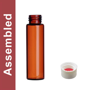 WHEATON® MicroLiter 40mL Amber Vial Kit, White PP Open Top Cap, Bonded PTFE/Silicone Septa, pack/100
