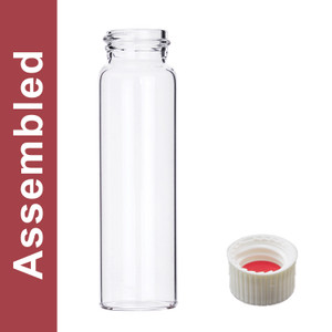 WHEATON® MicroLiter 40mL Clear Vial Kit, White PP Open Top Cap, Bonded PTFE/Silicone Septa, pack/100