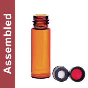WHEATON® MicroLiter 4mL Amber Vial Kit, 13-425 Black PP Open Top Cap, PTFE/Silicone Septa, pack/100