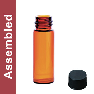 WHEATON® MicroLiter 4mL Amber Vial Kit, 13-425 Black Phenolic Solid Top Cap, PTFE Liner, pack/100