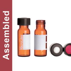 WHEATON® MicroLiter Amber Screw Thread Vial Kit, Marking Patch, Black 9mm Cap, PTFE Septa, pack/100