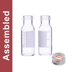 WHEATON® MicroLiter Clear Screw Thread Vial Kit, Marking Patch, Natural 9mm Cap, PTFE/Silicone/PTFE Septa, pack/100