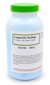 Copper (II) Sulfate 5-Hydrate, Lab Grade, Powder, 500 grams