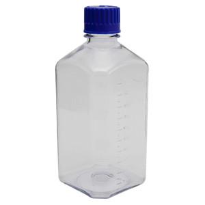 Square Media Bottles, Polycarbonate, Blue Cap, 1000mL, case/24