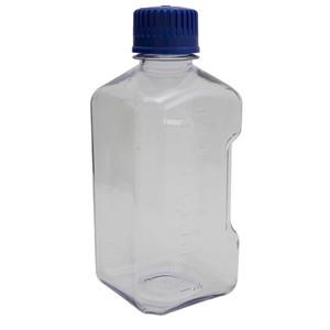 Square Media Bottles, Polycarbonate, Blue Cap, 2000mL