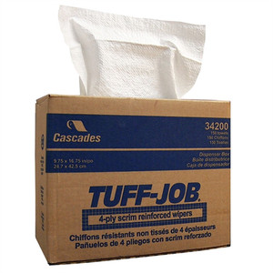 "Tuff-Job Scrim 4-Ply Wiping Rags, 12 x 13"", Quarter Fold in Poly Bag, case/50"