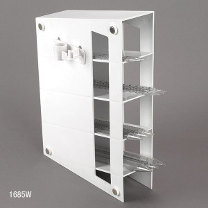 Pipette Storage Rack, 4 Compartment, Includes 2 Accessory Holders, ABS, Magnetized, White