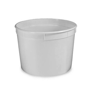 Multi-Purpose Polyethylene Container, 190oz, Snap Lid, White, case/20