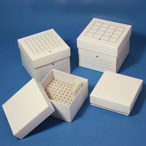 "Freezing Box, 3"", Cardboard, 64-Place (8x8 format), fits 3mL, 4mL and 5mL CryoCLEAR Vials, White, case/48"