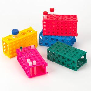 TUFFBLOK Tube Rack, 4-Way, Polypropylene, Link Together, Assorted Colors, pack/5