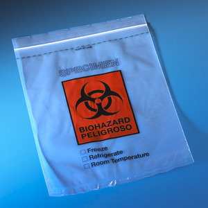 "Biohazard Specimen Transport Bags, 2 mil, 8"" x 10"", Zip-Close with Score Line and Document Pouch, case/1000"