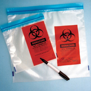 "Formalin Storage Bags, Zip-Close Biohazard Specimen Bags, 3 mil, Saranex®, 7"" x 8"", case/1000"