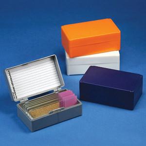 Slide Box for 12 Slides, Cork Lined, 5 Assorted Colors (Gray, Blue, Dark Gray, Orange and White), box/5